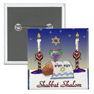 Impresión del arte de Judaica Shabbat Shalom Pin Cuadrada 5 Cm