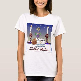 Impresión del arte de Judaica Shabbat Shalom Playera