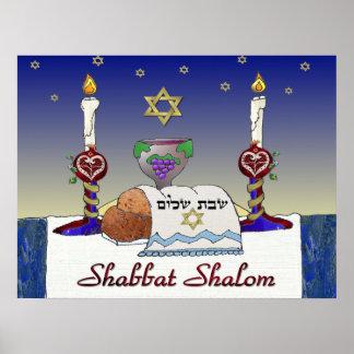 Impresión del arte de Judaica Shabbat Shalom Póster