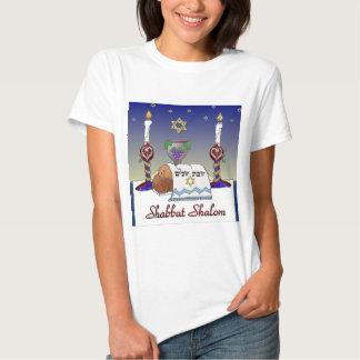 Impresión del arte de Judaica Shabbat Shalom Remera