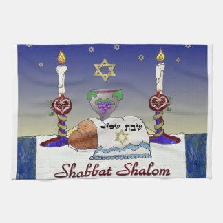 Impresión del arte de Judaica Shabbat Shalom Toalla De Mano