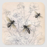 Impresión del arte de la abeja de la miel del vint pegatinas cuadradases