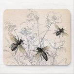Impresión del arte de la abeja de la miel del vint alfombrilla de ratones