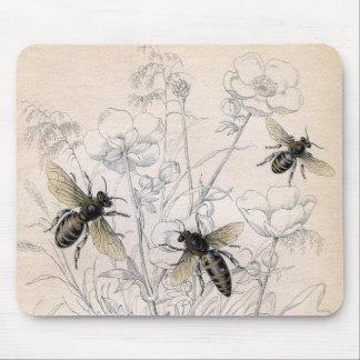 Impresión del arte de la abeja de la miel del vint tapete de raton