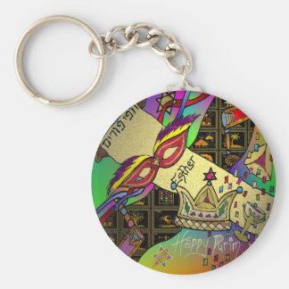 Impresión del arte de la celebración de Judaica Pu Llavero Redondo Tipo Pin