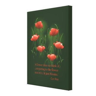 Impresión del arte de la cita del zen de la flor lienzo envuelto para galerías