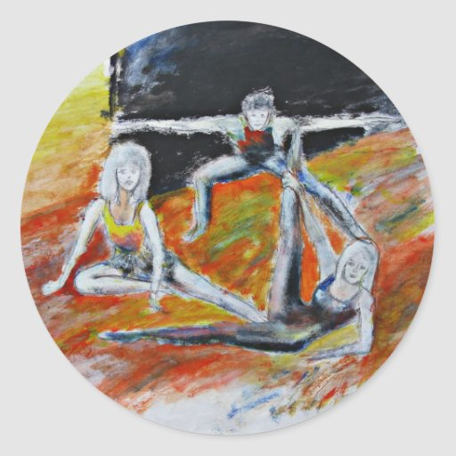 impresión del arte de la danza, bella arte pegatina redonda