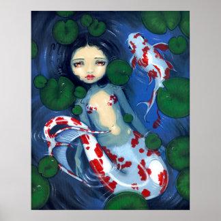 Impresión del arte de la fantasía de la sirena de  póster
