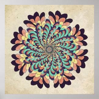 Impresión del arte de la mandala de la flor de la póster