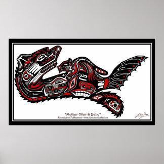 Impresión del arte de la nutria del Nación-estilo Posters