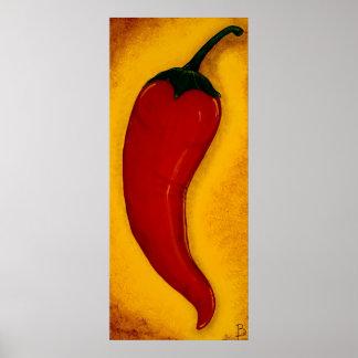 Impresión del arte de la pimienta de chiles rojos póster