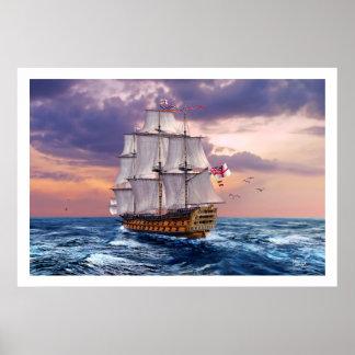 Impresión del arte de la pintura del buque póster