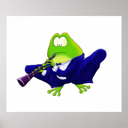 Impresión del arte de la rana del Clarinet Póster