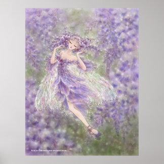 Impresión del arte de las glicinias póster