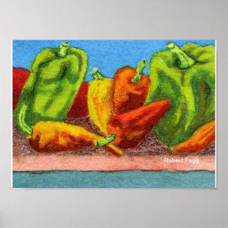 Impresión del arte de las pimientas #1 póster