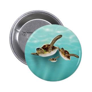 Impresión del arte de las tortugas de mar pin redondo 5 cm