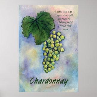 Impresión del arte de las uvas del vino blanco de  póster
