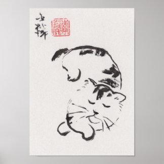 Impresión del arte de Lin Li: El dormir del gato Póster