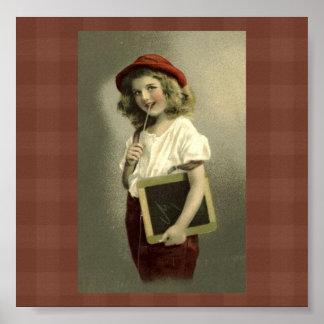 Impresión del arte de los días escolares del chica poster
