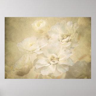 Impresión del arte de los flores de la antigüedad póster