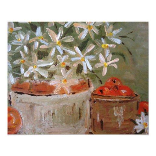 Impresión del arte de los naranjas y de las margar fotografías