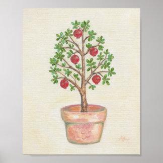 Impresión del arte del árbol de granada póster