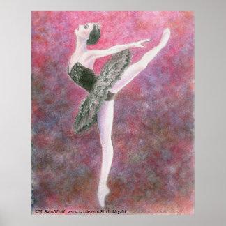 Impresión del arte del ballet del cisne negro póster