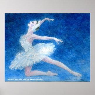 Impresión del arte del ballet del lago swan póster