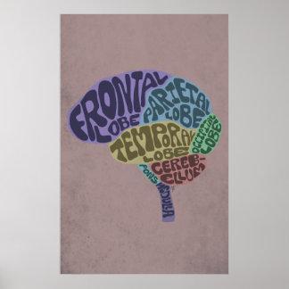 Impresión del arte del cerebro poster
