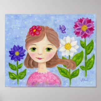 Impresión del arte del chica del jardín de flores póster