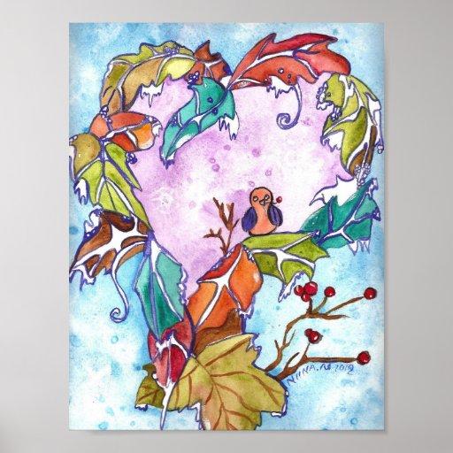 Impresión del arte del corazón del invierno impresiones