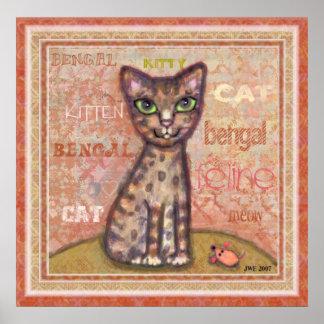 Impresión del arte del gato de Bengala Póster