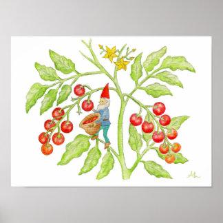 Impresión del arte del gnomo del tomate de cereza póster