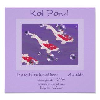 Impresión del arte del Haiku de la CHARCA de KOI Póster