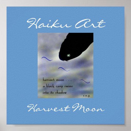 Impresión del arte del Haiku de la luna de cosecha Impresiones