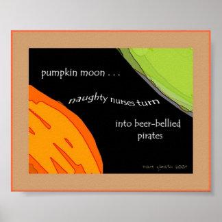 Impresión del arte del Haiku de la luna de la cala Póster