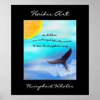 Impresión del arte del Haiku de las ballenas jorob Póster