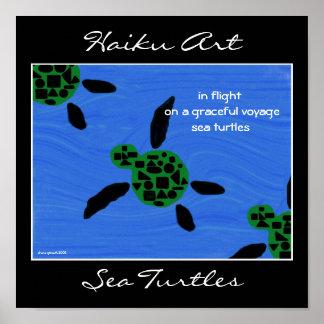 Impresión del arte del Haiku de las tortugas de ma Póster