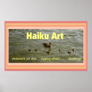 Impresión del arte del Haiku de los anadones Póster