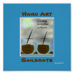 Impresión del arte del Haiku de los veleros Poster