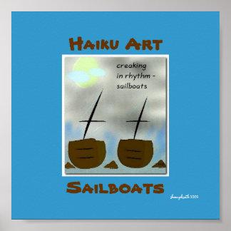 Impresión del arte del Haiku de los veleros Póster