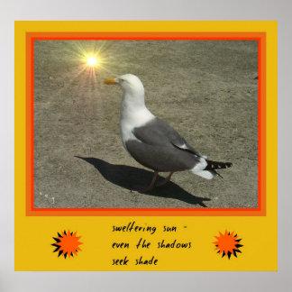 Impresión del arte del Haiku de Sun que chorrea su Póster