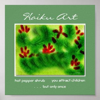 Impresión del arte del Haiku del arbusto de pimien Póster