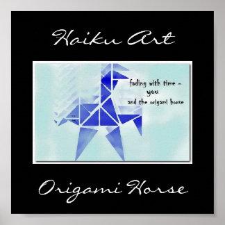 Impresión del arte del Haiku del caballo de Origam Posters