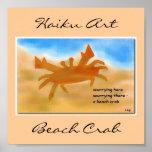Impresión del arte del Haiku del cangrejo de la pl Impresiones