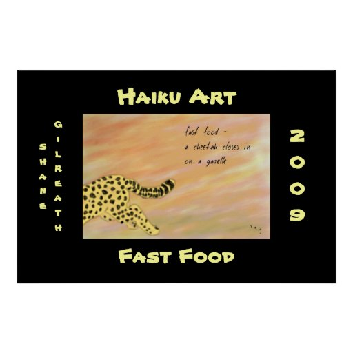 Impresión del arte del Haiku del guepardo de los a Impresiones