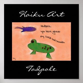 Impresión del arte del Haiku del Tadpole Póster