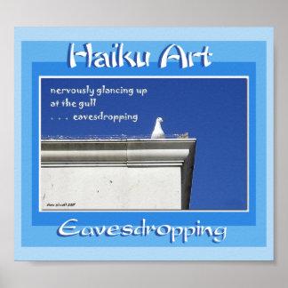 Impresión del arte del Haiku que escucha detras de Poster