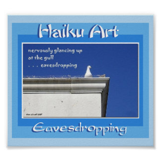 Impresión del arte del Haiku que escucha detras de Póster