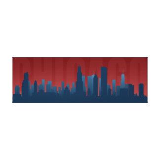 Impresión del arte del horizonte de Chicago Lienzo Envuelto Para Galerias
